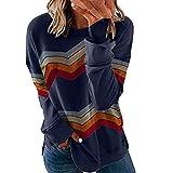 Camiseta de manga larga para mujer, diseño de rayas en zigzag, para invierno, con cuello redondo, informal, túnica azul M