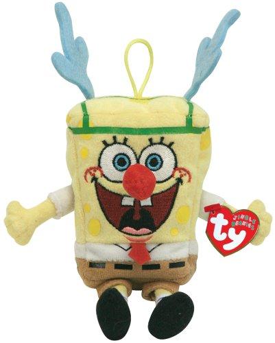 Pupazzetto peluche di Spongebob vestito da renna di Natale, da appendere [giocattolo]