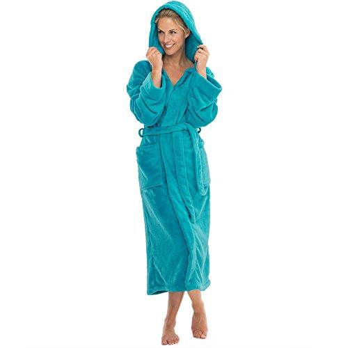 Bademantel mit Kapuze für Damen & Herren   alle Größen viele Farben   weiches und super flauschiges Coralfleece   aqua-textil 1000425 Serie Malibu S türkis
