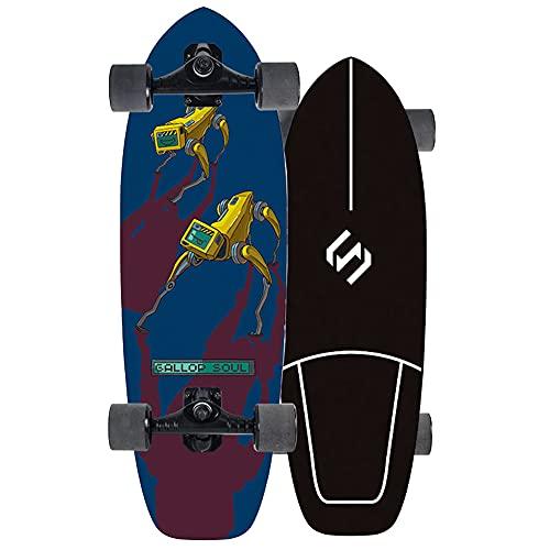Carver Skateboard Surfskat Carving Pumping Surf Skate 75cm Completo Tabla de Arce de 7 capas Skateboard para Adolescentes Principiantes Adultos Niñas Niños, Rodamientos de Bolas ABEC Alta velicidad