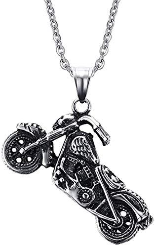 LLJHXZC Collar Acero Inoxidable Punk Rock Vintage Motocicleta Colgante Collar Hombres Hip Hop Regalo
