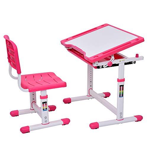 Kinder Schreibtisch und Stuhl Set, höhenverstellbarer Schreibtisch, mit Tilt Desktop zum Malen, Schul- und Heimkinder-Studiertisch, Bücherständer, Metallhaken und Aufbewahrungsschublade (Rosa)