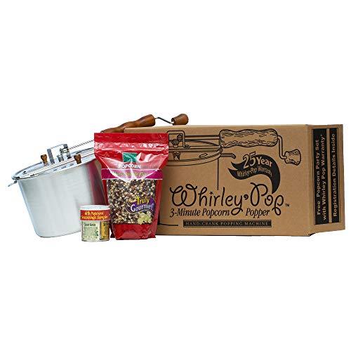 For Sale! Whirley-Pop Gift Set - Metal Gears - Silver - 2 lbs Kernels - 4 Seasoning Sampler