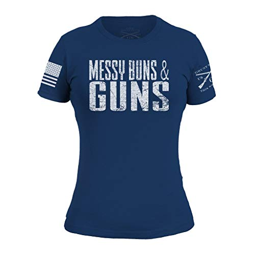 Grunt Style Messy Buns and Guns Women's T-Shirt, Color Royal, Size X-Large