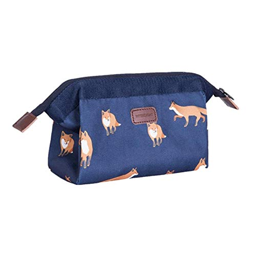 Travel Makeup Bag- Portable Waterproof Flamingo Cosmetic Bags Small Toiletry Wash Bag Brush Storage Pouch for Women Girls (Blue)