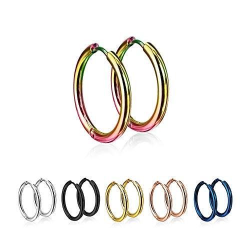 Treuheld® | Runde Creolen/Ohrringe aus medizinischem Edelstahl | 20mm | Bunt | Schmale Klappcreolen für Damen und Herren | Set/Paar