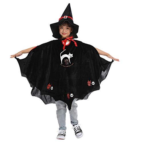 LLVV Halloween pompoen tovenaar heks mantel kaap decoratie gewaad en hoed set partij favorieten kostuum voor kinderen 80cm