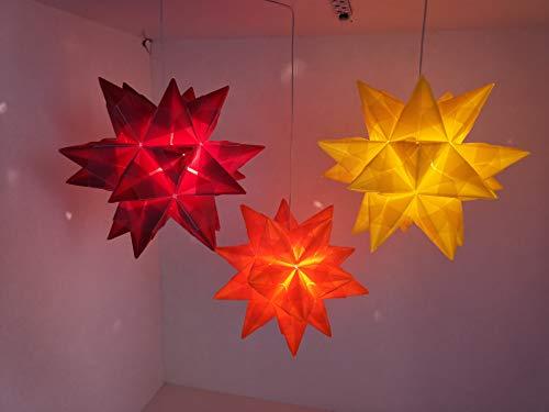 Sterne gelb orange rot, Leuchtstern, gefaltet Papiersterne, Beleuchtete Sterne für Innen