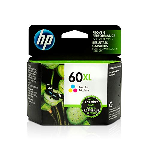 HP 60XL | Ink Cartridge | Tri-color | Works with HP DeskJet D2500 Series, F2430, F4200 Series, F4400 Series, HP ENVY 100, 110, 111, 114, 120, HP Photosmart C4600 Series, C4700 Series, D110a | CC644WN