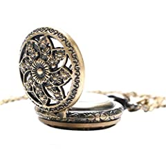 Vintage Chain Pocket Watch, Bronze Sun Flower Retro Roman Numerals Quartz Fob Pocket Watch With Necklace Chain Gift #1