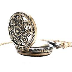 Vintage Chain Pocket Watch, Bronze Sun Flower Retro Roman Numerals Quartz Fob Pocket Watch With Necklace Chain Gift #1