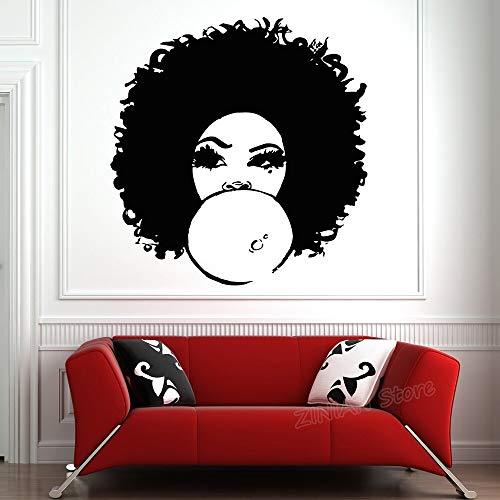 Chica Dormitorio Moda Mujer Africana Tatuajes de Pared Hermosa Chica Negra salón Rizado decoración del hogar Pegatinas de Pared 42x44 cm