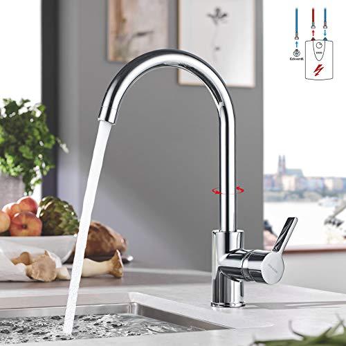 BONADE Küchenarmatur Niederdruck Wasserhahn Küche Messing Spültischarmatur 360° Schwenkbare Mischbatterie Einhebel Spültischbatterie für Spülbecken, chrom