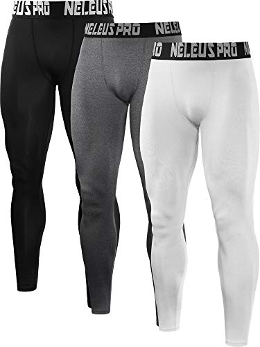 Neleus Men's 3 Pack Compression Pants Running Tights Sport Leggings,6019,Black,Grey,White,L,EU XL