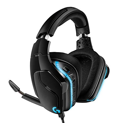 Logitech G635 kabelgebundenes Gaming-Headset mit LIGHTSYNC RGB, 7.1 Surround Sound, DTS Headphone:X 2.0, 50 mm Treiber, Bügelmikrofon mit Flip-Stummschaltung, PC/Xbox One/PS4/Nintendo Switch, Schwarz
