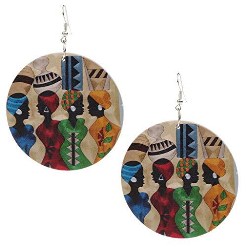 Fenteer Fashion Women Bohemian Boho Wooden Drop Dangle Jewellery African Earrings E
