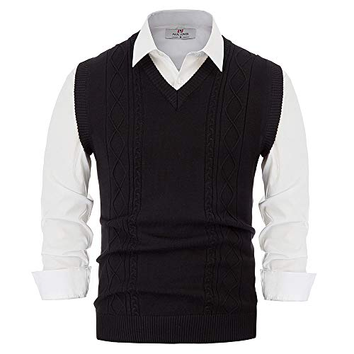 Mens Classic Sweater Vests V Neck Solid Sleeveless Slim Fit Knitwear Black 2XL