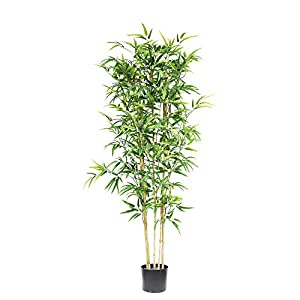 momoplant Fake Bamboo Trees, Artificial Plants Silk Tree 59inch Feaux Faux Plants in Plastic Pot for Office Garden Decoration Decor (5ft)