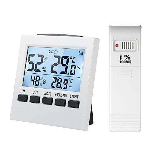 KKmoon LCD Termometro Digitale Interno/Esterno Wireless Igrometro ℃ / ℉ Misuratore di Umidità di Temperatura con Trasmettitore di Visualizzazione del Valore Minimo Massimo
