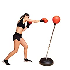"ALL IN ONE PUNCHING BAG WITH STAND: Set includes inflatable punching ball, deluxe padded boxing gloves with re-closable straps protect hands, base, adjustable stand from 48"" to 58"" high and inflatable pump. BRING THE GYM HOME: Sets up in basements, g..."