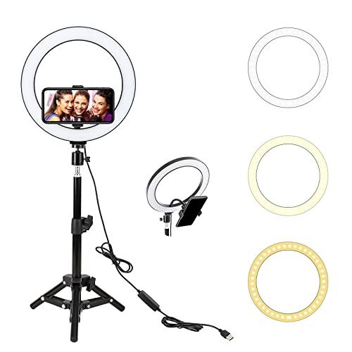 Anillo de Luz, BONFOTO 25cm Exterior Luz de Anillo LED Regulable con Trípode y Soporte para Fotografia, Teléfono, Maquillaje, Selfie, Youtube, Vlog