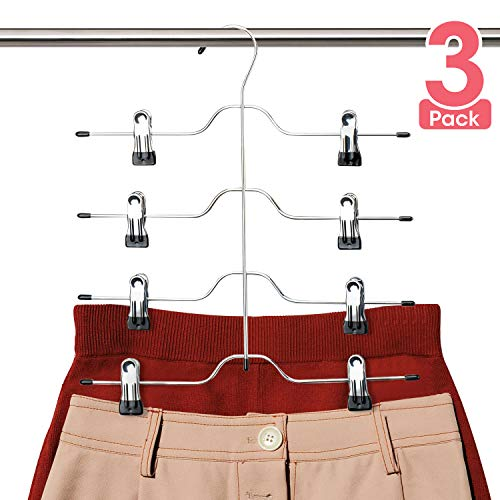 Niclogi Skirt Hangers 4 Tiers Pants Hangers Space Saving Hangers with Clips,3 Pack Non Slip Multi Slack Hanger Closet Organizer for Skirt, Pants, Slack, Trouser, Jeans, Towels
