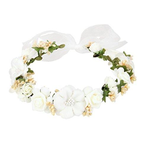 LUOEM Flower Head Band matrimonio cerchietti tessuto rilievo fasce ragazze capelli accessori cappello ornamento bianco