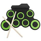 baofuba digitale elettronico portatile. usb 7. pad roll up set silicone green electric drum kit con bacchette e pedale sustain (color : a, size : one size)