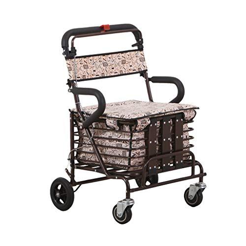CHenXy Walker Faltbare leichte, tragbare Trolley Assisted Gehen Einkaufswagen mit Rädern medizinische Walker (Color : A)