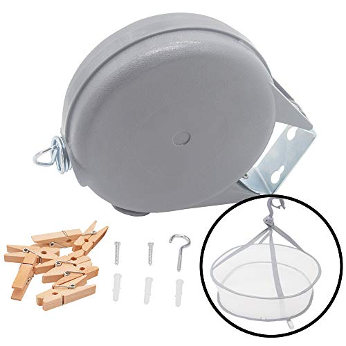 LAMXD Retractable ClotheslinePortable Heavy Duty Indoor and Outdoor Single Drying Rack49 Feet PVC Retracting Clothes Line with Wall Mount Hang The Wet Dry Clothing Laundrywith Drying Rack Net