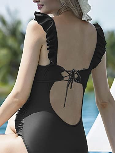 Mujer Trajes de Baño Una Pieza para Premamá Ropa de Playa Embarazada Volantes Negro S