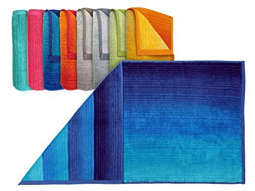 """Dyckhoff Bio-Handtuchserie """"Colori"""" - erhältlich in 8 brillanten Farbkombinationen und 3 verschiedenen Größen – hochwertig verarbeitet und mit praktischem Kordelaufhänger, Handtuch 50 x 100 cm, blau"""