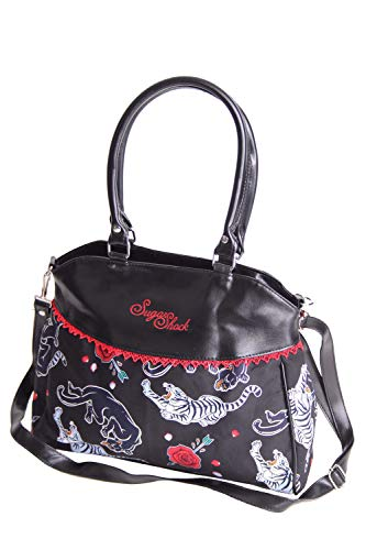 SugarShock Damen Handtasche Ranka Tattoo, Farbe:Schwarz