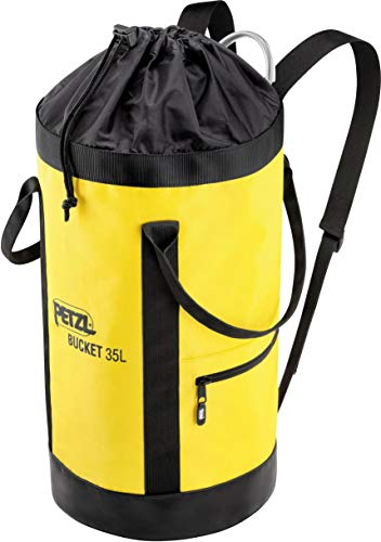 Petzl S41AY 035 BUCKET Fabric Pack, Remains Upright, 35 L, Black/Yellow
