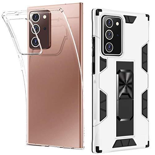 Kompatibel mit Samsung Note 20 5G Hülle Transparent Silikon Galaxy Note 20 5G Handyhülle und Hartcase mit Magnetisch Stand Stoßfest Schutzhülle für Samsung Galaxy Note20 5G Case Cover [2 pack]