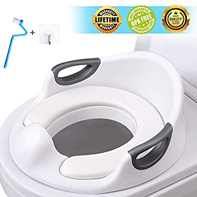 Potty Training Seat for Toddlers Toilet Seat Kids Potty Trainer Seats with Soft Cushion Handles for Round Oval Toilets Double Anti-Slip Design and Splash Guard for Boys and Girls