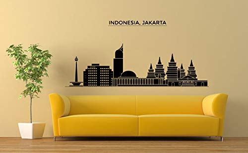 Wall Sticker Indonesia Jakarta Landscape City Silhouette Building Travel Vinyl Mural Decal Art Decor EH2769