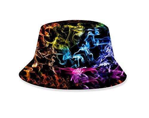RNGZC Sonnenhüte Damen Flamme 3D Gedruckt Hut Nähen Farbe Sommer Multifunktionale Grundlegende Fischerhut Dm