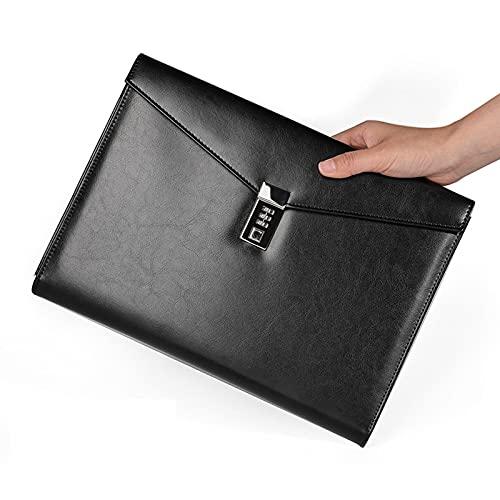 A4 PU Cuero Multifunción Folletas de papelería, bolsa de documentos de sobre con bloqueo de código seguro, maletín de cuero negro con clase Bolsa de negocio Bolsa de almacenamiento seguro,Negro