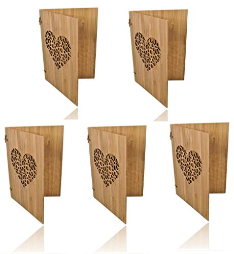 5 Handgefertigte beschreibbare Bambuskarten mit Herz   Hochzeitskarte   Geburtstagskarte   Geschenkkarte   Einladung Karte Holz   von SZillion®