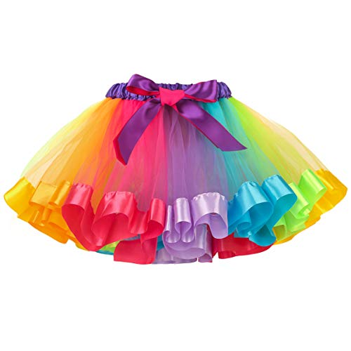 Belababy Girl Skirt Rainbow for 2-5T Toddler Halloween Dress Up