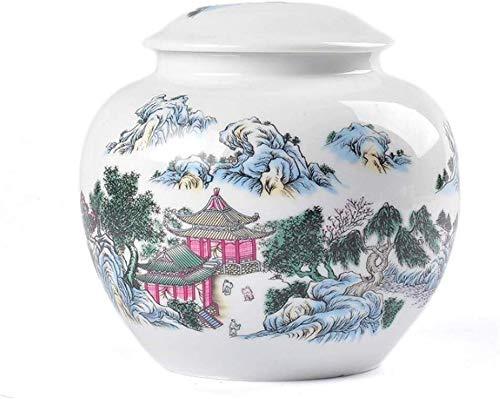 Zenghh Chinese Jingdezhen Einäscherung Urn for Asche, for Erwachsene Menschheit, Begräbnis Beerdigung Urnen mit Satin-Beutel for Menschen Ashes (Color : 15 * 16cm)