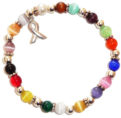 Hidden Hollow Beads Cancer Awareness 6mm Beaded Stretch Bracelet, Adult Size, Comes Packaged (All Cancers - Multi 18 Colors)
