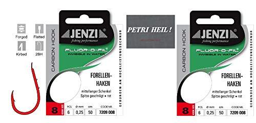 .Jenzi Set: 2 Packungen gebundene Forellenhaken (12 Stück) an Fluoro-Carbon Schnur, Hakengröße 8 + gratis Petri Heill! Aufkleber