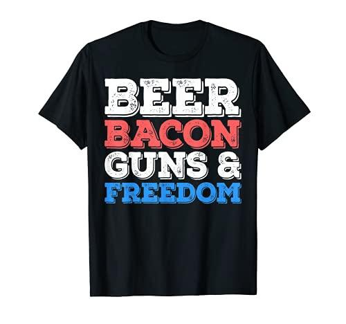 Beer Bacon Guns And Freedom T-Shirt 4th of July Gift Shirt T-Shirt
