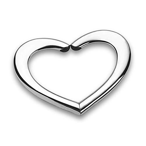 Signstek Herzförmige tragbare Geldbörse/Tischaufhänger aus Metalllegierung, silberfarben