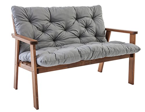 Ambientehome tuinbank 2-zits bank massief hout houten bank incl. kussen HANKO + Classic accessoires Ravenna afdekking voor tuinbank houten bank ca. 112 x 65 x 79 cm bruin