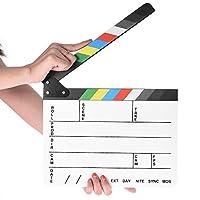 プロ仕様 映画ディレクター クラップボード 写真スタジオ ビデオ テレビ アクリルクラッパーボード ドライイレースフィルム スレートカット アクションシーン クラッパー カラースティック付き 9.6x11.7インチ/25x30cm ホワイト