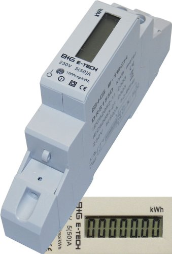 B+G E-Tech DRS155D - LCD digitaler Wechselstromzähler Stromzähler Wattmeter 5(50) A für Hutschiene mit S0 Schnittstelle 1000imp./kWh