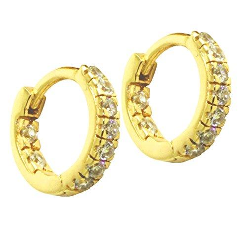 "apop nyc""Huggie"" Goldtone Sterling Silver Mini Hoop Earrings with CZ [Jewelry] (Goldtone-silver)"